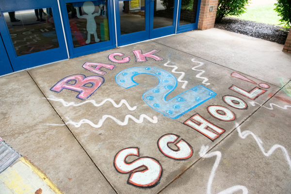 Chalk greeting at Connoquenessing Valley Elementary, part of the Seneca Valley School District (SVSD).