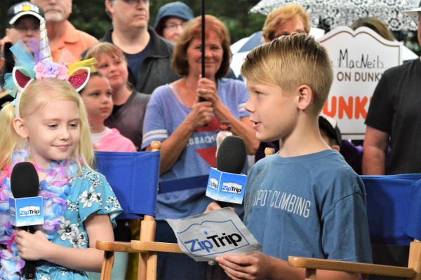 Briar Rose, 7 and Zach Hughes, 10 of Bellingham are interviewed for Zip Trip (photo by Jen Russo)