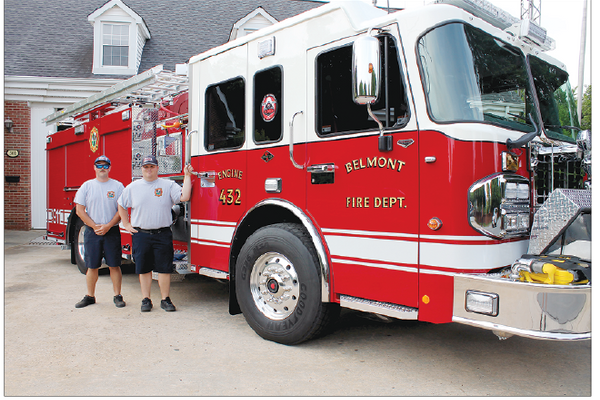 The fire truck that BFD has on order will look similar to this one delivered last May. That's Matthew Hodge and Stephen Roberts. Photos by Alan Hodge