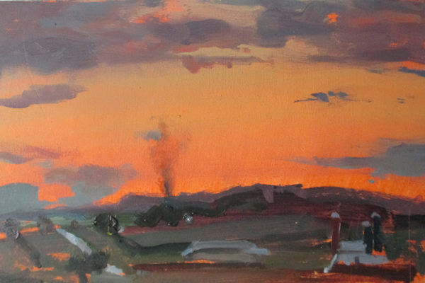 'Amish Burning Trash at Sunset'