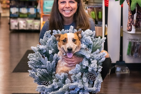 Healthy Pet Products' owner Toni Shelaske with Desoto.  Photo by Dena Koenig Photography