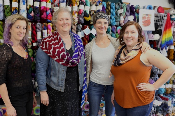 Jes Bromley, Amy McCall, Joanna Elsas, and Lauren Eicher at McWalker Yarns. Photo credit Ruth Hendricks
