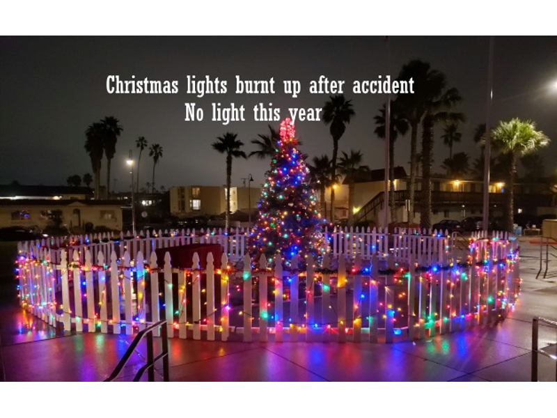 City of IB Christmas Tree won't have Christmas Lights this Year! Very Dangerous Situation ...