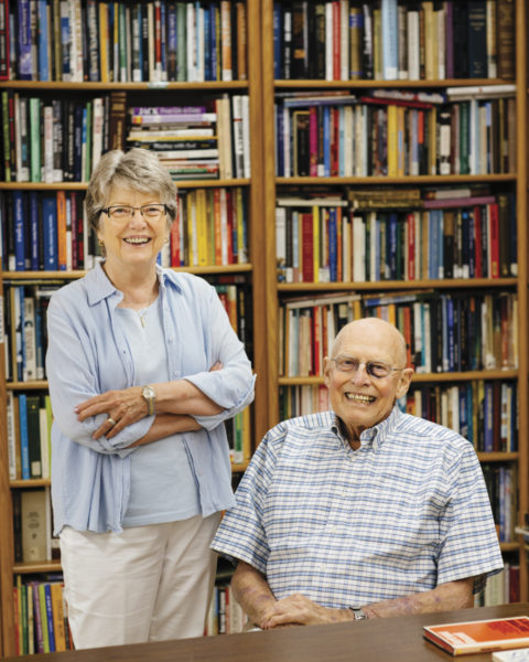 Polly and Joe Goecke at library