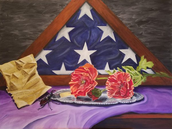 Flag folded in triangle painting