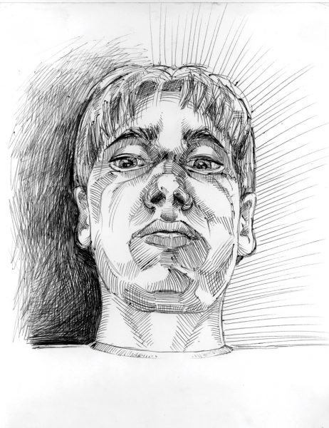 A self-portrait (ink) by Connor Meigs during his junior year at Central High School, 2001, full image