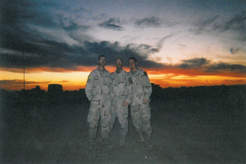 From left: Specialist Mower, Specialist Crumpacker, and Specialist Hausman, 19, in Samarra, Iraq, 2003. The photo was taken the day after the horrific Stryker accident that killed three soldiers. Photo provided by Jacob Hausman.