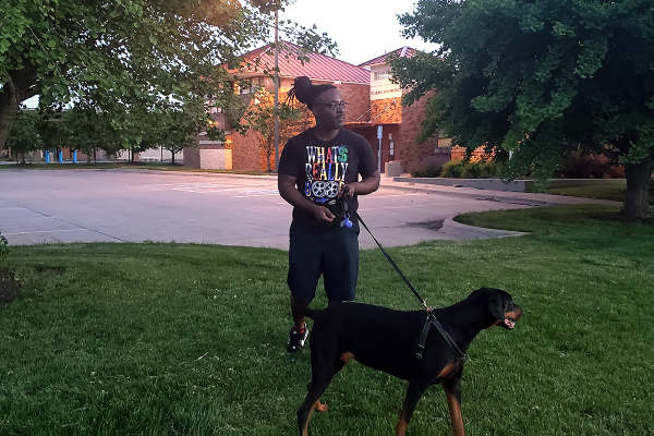 J.D. Avant with his dog