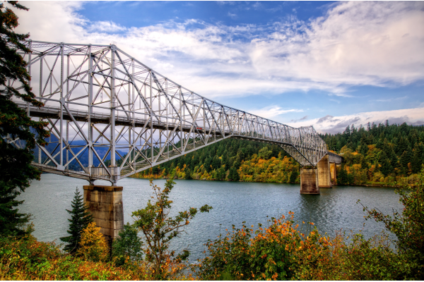 Bridge of the Gods from Oregon at Cascade Locks looking toward the Washington shore September 2014 autumn colors