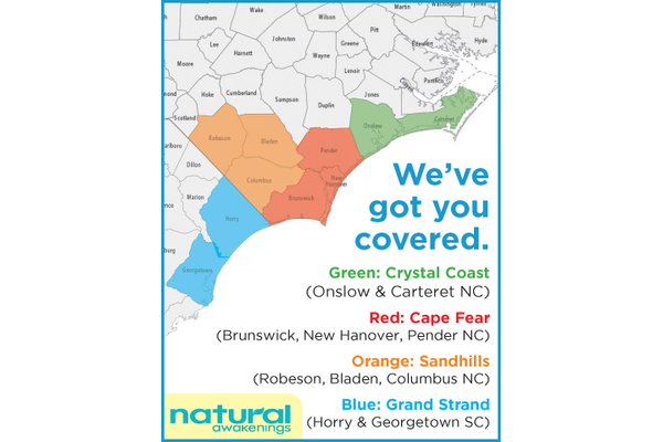 Natural Awakenings of the Coastal Carolinas Map