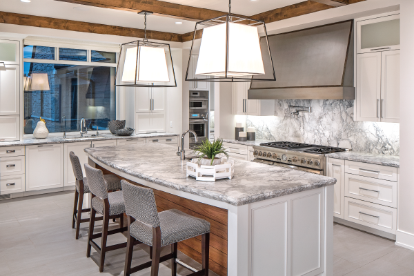 gray and white kitchen, marble-topped island