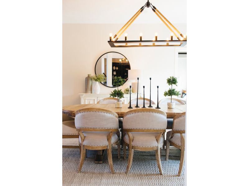 dining room, table with sideboard, chandelier