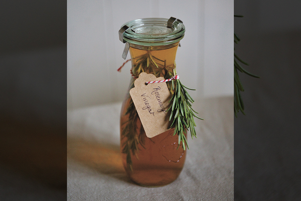 Rosemary infused vinegar recipe as a holiday gift