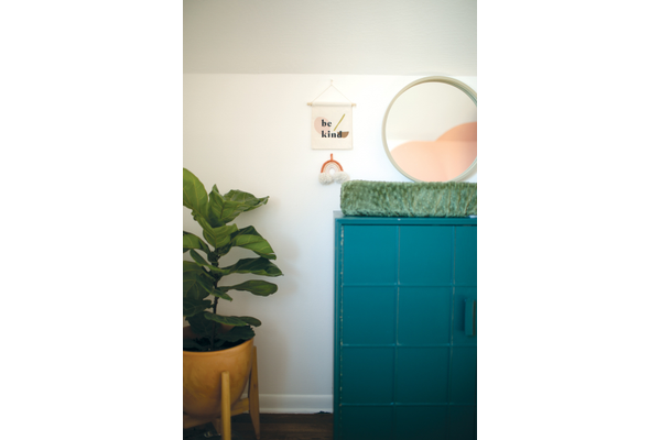turquoise dresser with mirror, large plant