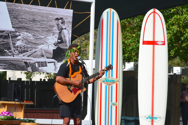 "Eric Keawe, a Hawaiian priest ""Kahu"" presides over Hobie's ceremony and traditional Hawaiian paddle-out held at Doheny Beach, on April 18th."