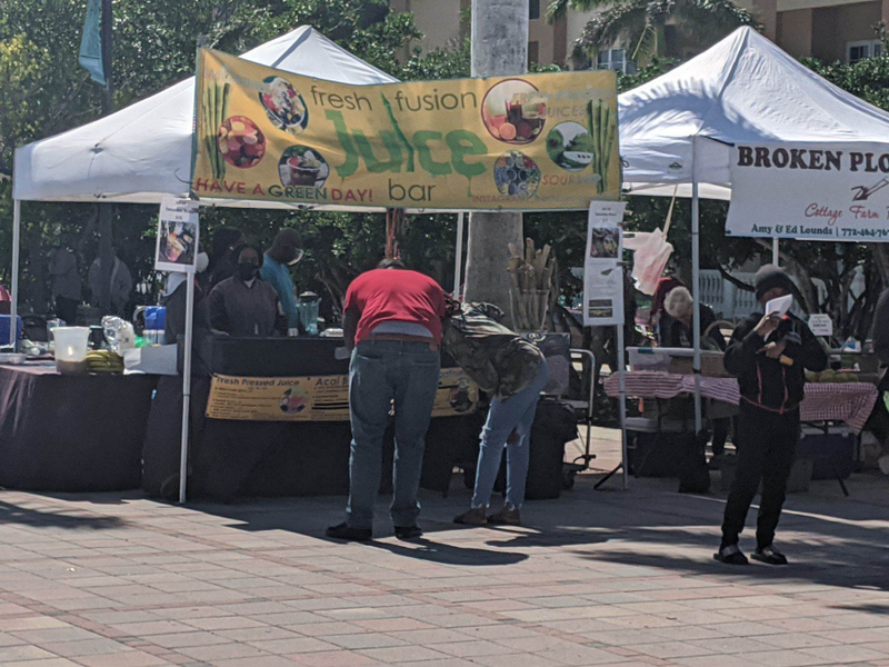 Juice from Fresh Fusion is a great way to get your greens at the Ft Pierce Farmers Market