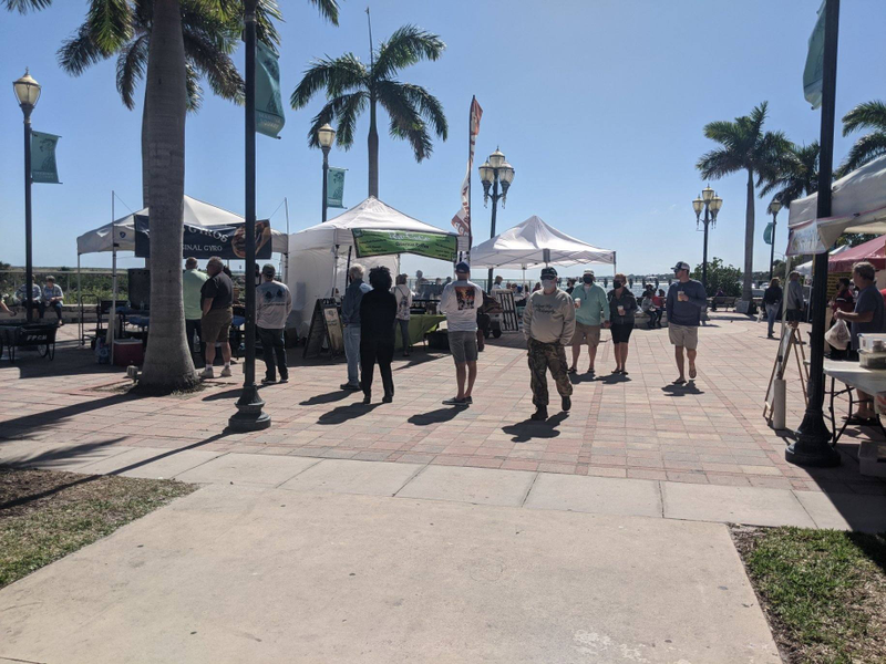 Beautiful Day at the Fort Pierce Farmers Market. Held in downtown Ft Pierce at the water's edge, the market scenery adds to the experience.
