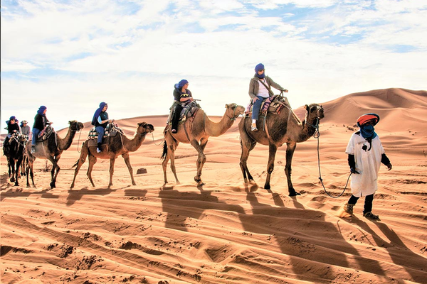 Man leads group tour of four plus people on camels through the desert.