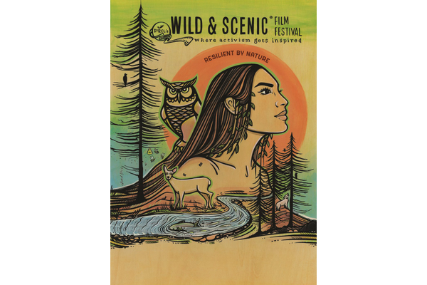 Wild & Scenic Film Festival logo with a darwing of a womens body coming out of the water and an owl and trees behind her