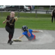 Senior captain Brooke Hardy slides into second after stealing a base