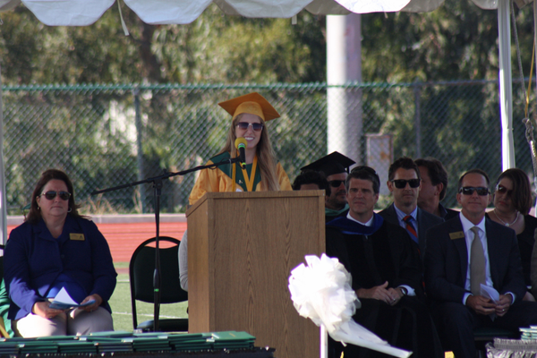 Lia Sepanek delivers her speech.