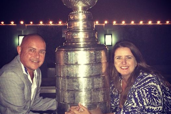 MB City Council member Tony D'Errico and his wife Kris Mackerer D'Errico with the Stanley Cup shortly after the Kings claimed in 2014.