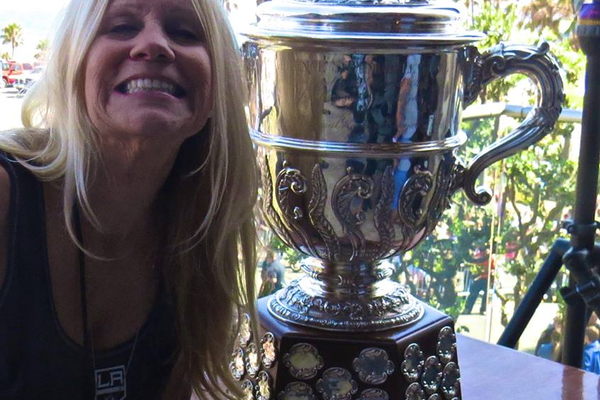 Manhattan Beach resident Jackie May with the Stanley Cup.