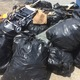 Dozens of trash bags were filled and dumped at the DPW garage to be disposed of.