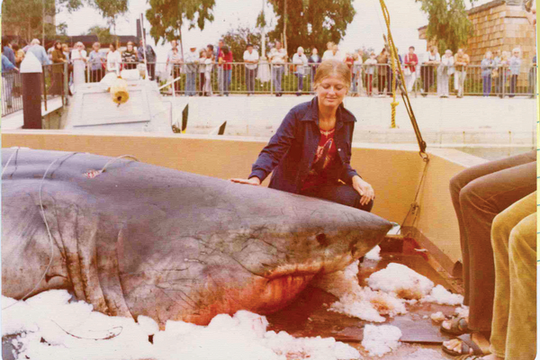 Kenny's wife, Maureen, with a  2000 lb. shark caught by Larry Mansuer on the Heather B in 1975