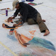 Artist Carolyn Schultz recreates Napolean Crossing the Alps at the Sweet Chalk Festival