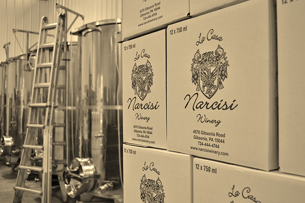 Boxes of wine at Narcisi Winery